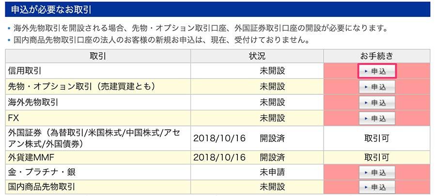 楽天証券の一般信用口座申込みページ