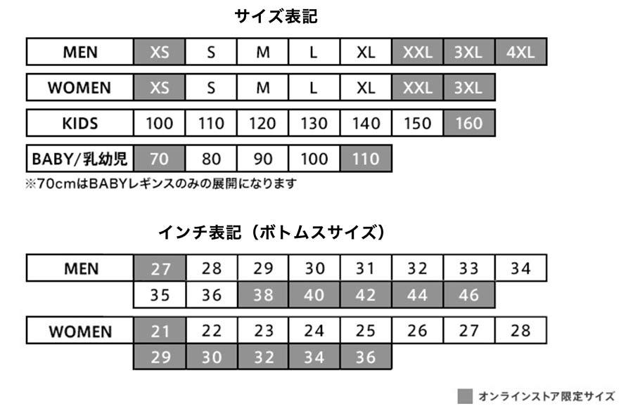 ユニクロのサイズラインナップ